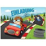 12 Einladungskarten mit Motiv Rennwagen / Autorennen.
