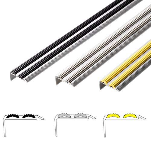 Alu Treppenkantenprofil Power Grip | rutschhemmende Doppel-Gummi-Einlage | unsichtbare Montage: selbstklebend/vorgebohrt | Treppenwinkel Profil in 3 Farben & Längen (selbstklebend, schwarz, 134 cm)