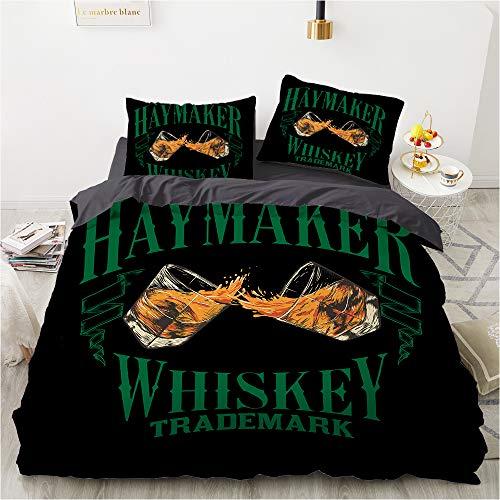 QWAS Juego de ropa de cama con diseño de botella de vino cuadrada, 3 piezas, 4,135 x 200 cm + 50 x 75 cm x 2