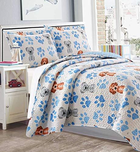 Home & Main 3 Piece Set (Quilt with 2 Pillow Shams) - Reversible Children's Bedspread - Premium Kids Bedding, Ultra Soft Microfiber Bed Set (Paw Print, Twin)