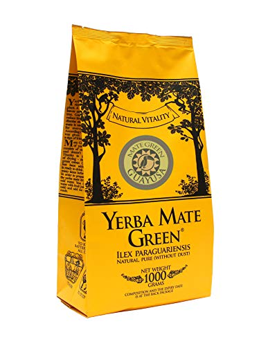Mate Green Yerba GUAYUSA, Brasilianischer Mate Tee, Fruchtiges Mate Tee, mit Ilex Guayusa Blatt, Bittermelonenpulver, Aloe Vera Pulver, Apfelaroma, 1000 g