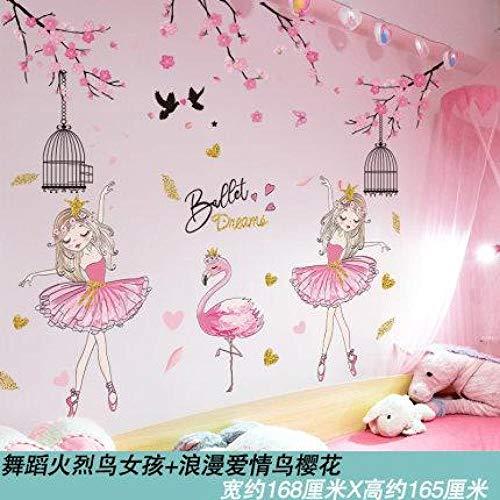 Wandaufkleber Dekoration Mädchen Zimmer ins Mädchen-Tanzen Flamingo Mädchen + romantische Liebe Vogel Kirsche Blüte_Big