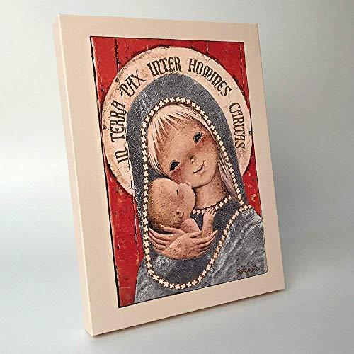 Cuadro Virgen gótica 30x40cm. Ilustración de Juan Ferrándiz impresa en lienzo. Serie limitada y numerada. Regalo Comunión y Bautizo