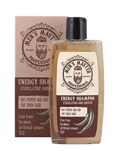 Champú Estimulante para Hombre Chile rojo, cafeína y lúpulo  efecto Anticaspa y Anticaída del cabello, Sin sulfatos, 260 ml de Men s Master