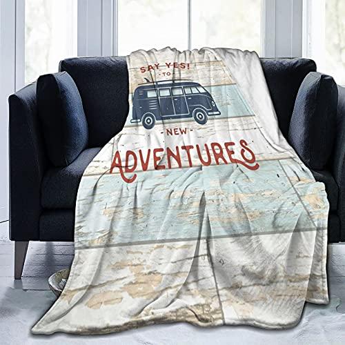 Vintage puerta de madera nueva aventura furgoneta, manta de forro polar suave, cálida franela, aire acondicionado edredón sofá