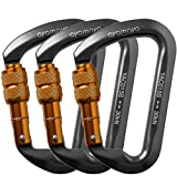 ayamaya 30kn / 3000kg Climbing Carabiner Aluminum Locking Carabiner D Shape Screwgate Carabiner Hook Screw Lock Carabiner Outdoor Gifts Sport Tools for Men Women (Grey)