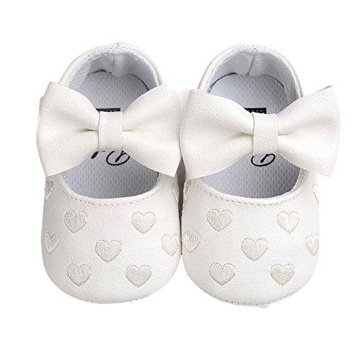 Elecenty Sandalen Gestickt Sneaker,Babyschuhe Schuhe Shoes Weiche Sohle Bowknot Mädchen Wanderschuhe Klettverschluss Lauflernschuhe Turnschuhe Atmungsaktiv Laufschuhe (12, Weiß)