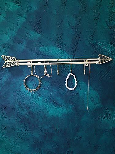 YB&GQ Decorativo Colgando Collares Organizzatore,Metal Montado A Pared Gancho,2 En 1 Diseño De Flechas Joyas Expositor Titular para Clave Joyas Rejilla Dorado 50.4x8.8cm(20x3inch)