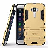 Heartly Graphic Kickstand Hard Dual Rugged Armor Hybrid Bumper Back Case Cover for Asus Zenfone 3 Laser ZC551KL 5.5' - Mobile Gold
