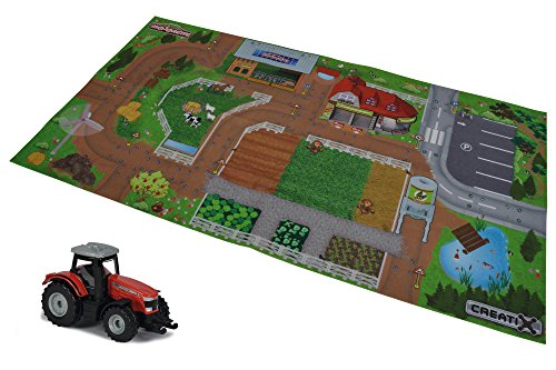 Majorette 212056413 Creatix Playmat Farm, Spielmatte, 96x51,2cm, inkl. Massey Ferguson Traktor, Die-Cast, 7,5cm