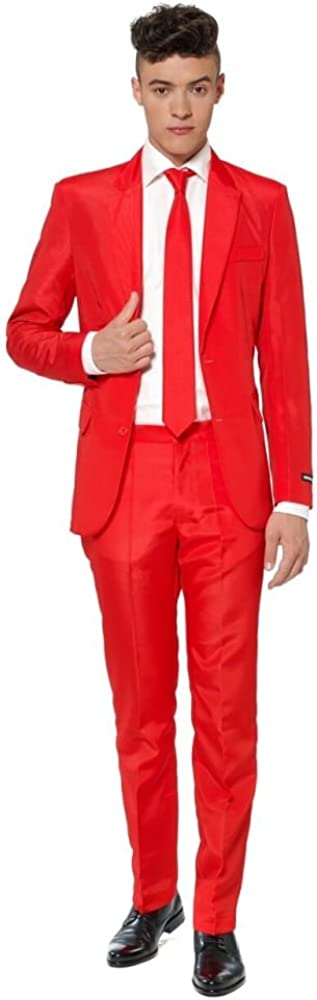 SUITMEISTER Solid Red Suit - Size Over item handling Ja Includes Blazer L Max 46% OFF Matching