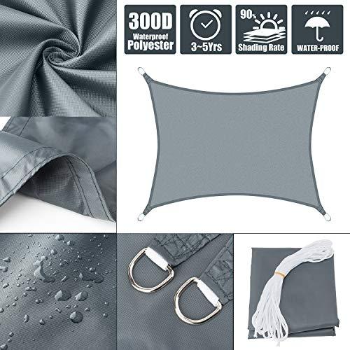 Myan - Toldo cifrado para exteriores (95 % de protección UV, impermeable, tela Oxford), gris, 2.5x3m