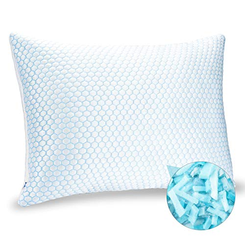 """ZPECC Shredded Memory Foam Pillow for Sleeping, Soft Adjustable Cooling Bed Pillow for Night Sweat, Q-Max 0.4 Cooling Cover With Hidden Zipper, Head and Neck Support, Machine Washable, Queen 20"""" x 30"""""""