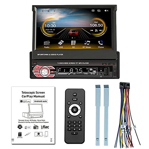 Runtodo 7 Pulgadas HD Pantalla RetráCtil Carplay Audio MP5 1 DIN Radio Grabadora de Cinta Reproductor para Carplay y Android
