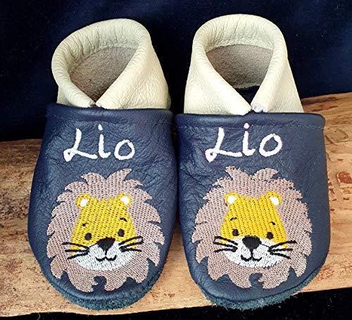Krabbelschuhe aus Leder mit Namen Name Löwe Leo Tiger für Jungen Mädchen dunkelblau/creme