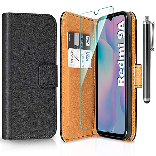 ivencase Funda para Xiaomi Redmi 9A + Protector de Pantalla + Pen, Libro Caso Cubierta la Tapa magnética Protector de...
