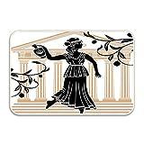 NA Mujer Griega con Edificio de ánfora y Ramas de Olivo Cultura patrón Popular Felpudo Piso Alfombra de Entrada de baño Alfombra de baño decoración de Goma Antideslizante