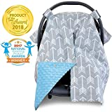 2 in 1 Carseat Canopy and Nursing Cover Up with Peekaboo Opening | Large Infant Car Seat Canopy for...