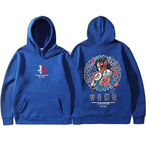 Sudadera Con Capucha Estampada Estilo Chino Impresión Azul Personalizada Moda Juvenil Pareja Harajuku Kanji Graffiti Novedad Hip Hop Ropa Deportiva Streetshirt Pullover Outwear Hombres Mujeres Unisex