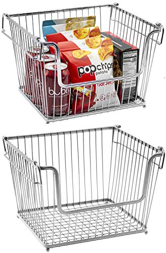 Sorbus Farmhouse Scoop Storage Bin Wire Baskets with Handles Stackable Basket Set Organizers for Home Kitchen Pantry Bathroom Laundry Closet Organization Iron Metal 2-Pack Silver