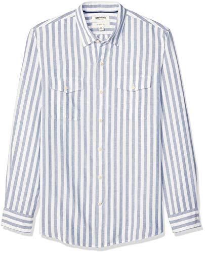 Amazon-Marke: Goodthreads Langarmshirt für Herren, Slim-Fit, Leinen, Baumwolle, White Blue Stripe, US S (EU S)