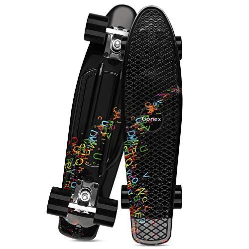 Gonex 22 Inch Skateboard for Girls Boys Kids Beginners, Mini Cruiser Skateboard Plastic Skateboard Complete for Teens Youths , Black