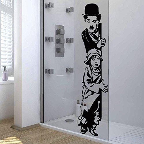 IDEAVINILO Vinilo Decorativo Charles Chaplin, The Kid. Color Negro. Medidas: 30x110cm.