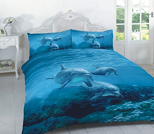 Duvet Cover Set 3D Animal Print Effect Quilt Bedding Set New (Dolphin, Double)