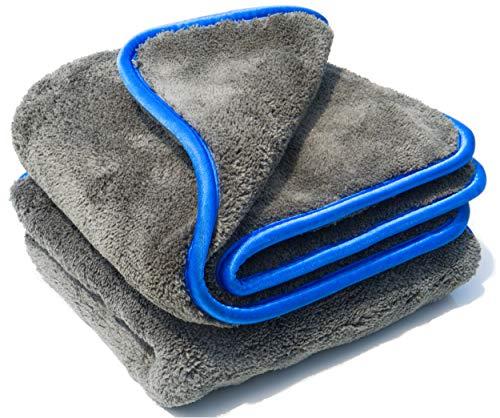 Auto Abledertuch 2 STK. 40x40cm Mikrofasertücher mit 1200gsm für die Autopflege | Saugtuch Auto Poliertuch Microfasertuch für schonende Lackpflege