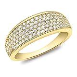 Carissima Gold Damen-Ring Pave Set Tapered - Size N 375 Gelbgold Zirkonia transparent Rundschliff Gr. 54 (17.2) - 1.48.8769