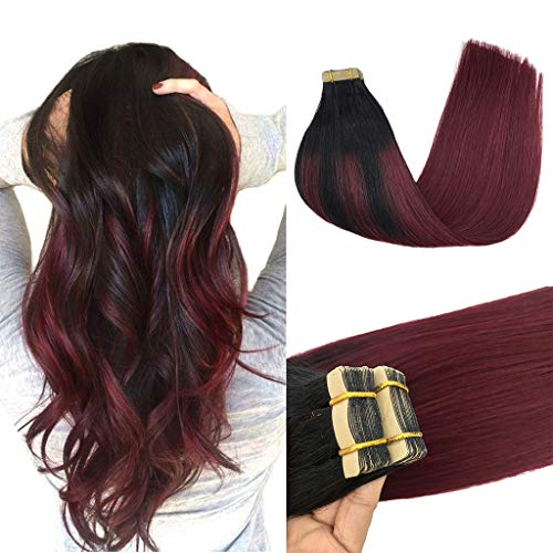 GOO GOO 16inch Hair Extensions Tape in Balayage Jet Black to Red Ombre Remy Tape in Human Hair Extensions Skin Weft Real Natural Hair Extensions 20pcs 50g
