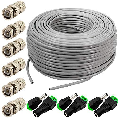 Cable de cámara HD LINE de 100 m - CCTV RG59 / Cable coaxial / Cable de video y alimentación / Cámara de seguridad / Cable de vigilancia