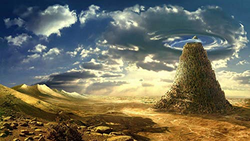 wffmx Puzzle Classico per Adulti 1500 Pezzi-Torre di Babele Fantasia Puzzle in Legno-Puzzle di Famiglia Gioco di Sfida Giocattoli-1500 Pezzi di Puzzle-87X57cm