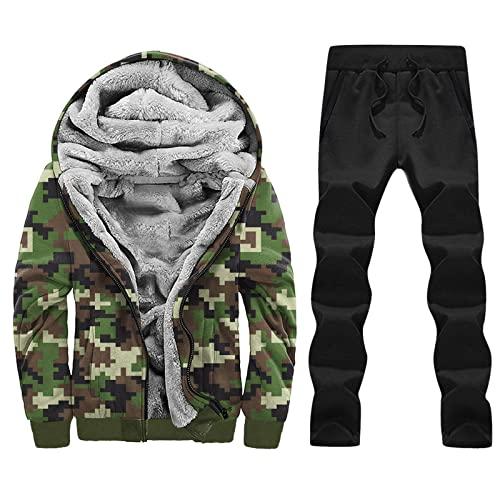 Chejarity Chándal deportivo para hombre con forro polar interior, chándal con capucha y cremallera en la parte superior + pantalón, chaqueta de chándal con capucha y pantalón de chándal, verde, M