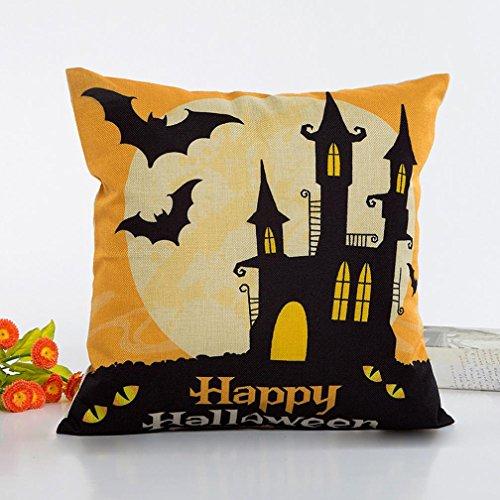 Fundas de almohada de Halloween, Internet sofá cama Home café Decor cuadrado funda de cojín Lino Invisible con cremallera 45cm * 45cm, lino, Multicolore #2, 45cm*45cm