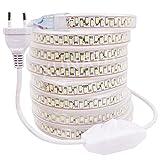 XUNATA 220 V Dimmerabile Strisce LED con Interruttore Dimmer, Bianco (SMD 5630 180LED / m) Impermeabile e Flessibile Striscia a LED per Scaletta Tetto Cavi da Cucina Decorazione- 3m