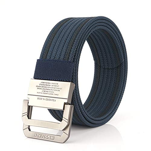JTRHD Men's Nylon Canvas Work Belt Personalized Double-ring Buckle Belt Nylon Casual Pants Student Big Stripe Men's Belt Fully Adjustable (Color : Blue, Size : 120cm)