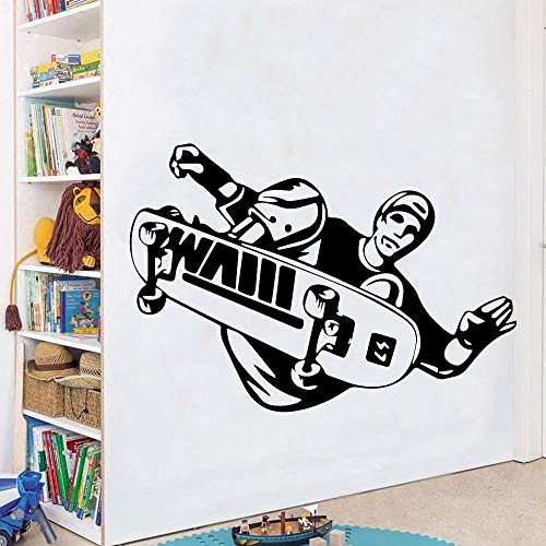 yaonuli Kreative Skateboard Selbstklebende Vinyl Junge Schlafzimmer Aufkleber Vinyl Kunst Aufkleber Wohnzimmer Dekoration Wandaufkleber 42x60cm