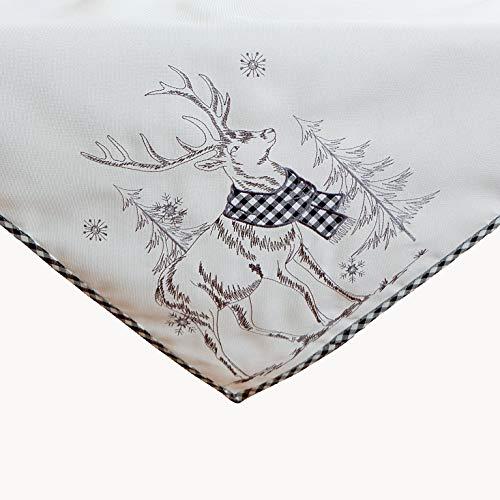 Raebel OHG - Mantel bordado de ciervo (85 x 85 cm), color negro