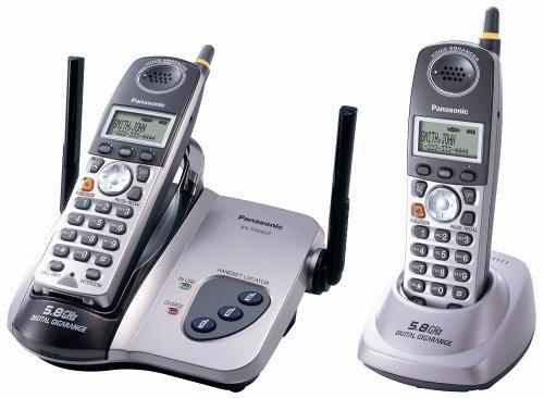 Panasonic KX-TG5622M 5.8 GHz FHSS GigaRange Digital Cordless Telephone with Dual Handsets,Platinum