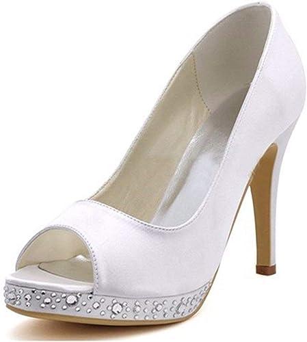 Qiusa Les Les dames Peep Toe Cristaux Stiletto Sandales de Mariage de mariée en Satin à Talons Hauts (Couleuré   blanc-10cm Heel, Taille   7.5 UK)