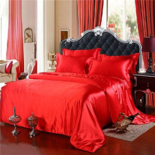 Set de draps de lit, double ressort et été Mulberry Silk Ensemble de lit en couleur solide de 4 pièces - 1.5M / 1.8M / 2.0M Bed ( Couleur : C , taille : 2.0m/6.6Feet bed )