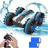 Allcaca ラジコン カー 四駆 水陸 両用 スタントカー USB充電式 360回転 両面走行 特技を持つ 子供 玩具 贈り物 ブルー