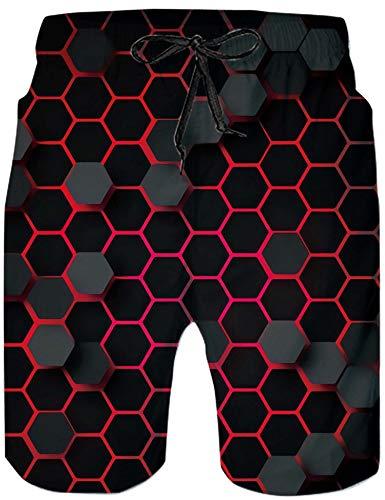 Loveternal Hawaii Badehose 3D Schnell Trocknend Bunter Badehose Lustig Coole Bienenwabe Badeshorts für Männer XL