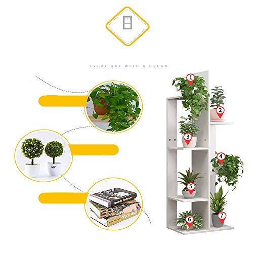 6 Estante de soporte para plantas en maceta, estante de soporte Estantería de exhibición de macetas de interior al aire libre, fácil de montar, para patio, jardín, esquina, balcón, sala de estar