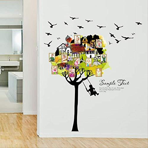 Muursticker muursticker handbeschilderd boom huis fotolijst schommel sticker, geschikt voor slaapkamer woonkamer verwijdert binnendecoratie waterdicht 110 x 128 cm