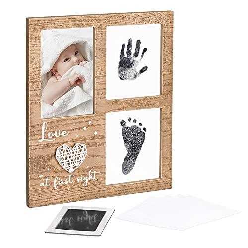 Navaris Kit de marco de huellas de bebé - Cuadro de madera personalizado para fotos y huella de manos y pies de recién nacido - Materiales seguros