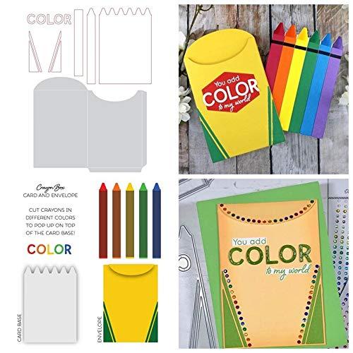 Crayon Box Card And Envelope Metal Cutting Dies new 2019 Crayon Card Base+Envelope Die Cuts For Card Making