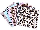 MoonyLI 7 piezas de tela de algodón con estampado de leopardo, varios animales, tela estampada con estampado de leopardo, estampados de algodón, tela de costura