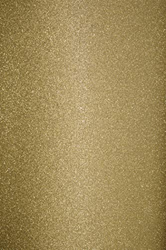 10 x Gold Glitzer Papier selbstklebend DIN A4 210×297 mm 150g Aster Glitter bunt Glitter Papier Bastel-Bogen Glitter Karten Bastelpapier glänzend für DIY Projekte Dekoration Kunst und Handwerk